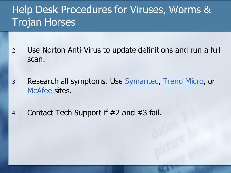 Help Desk Procedures for Viruses, Worms & Trojan Horses 2.