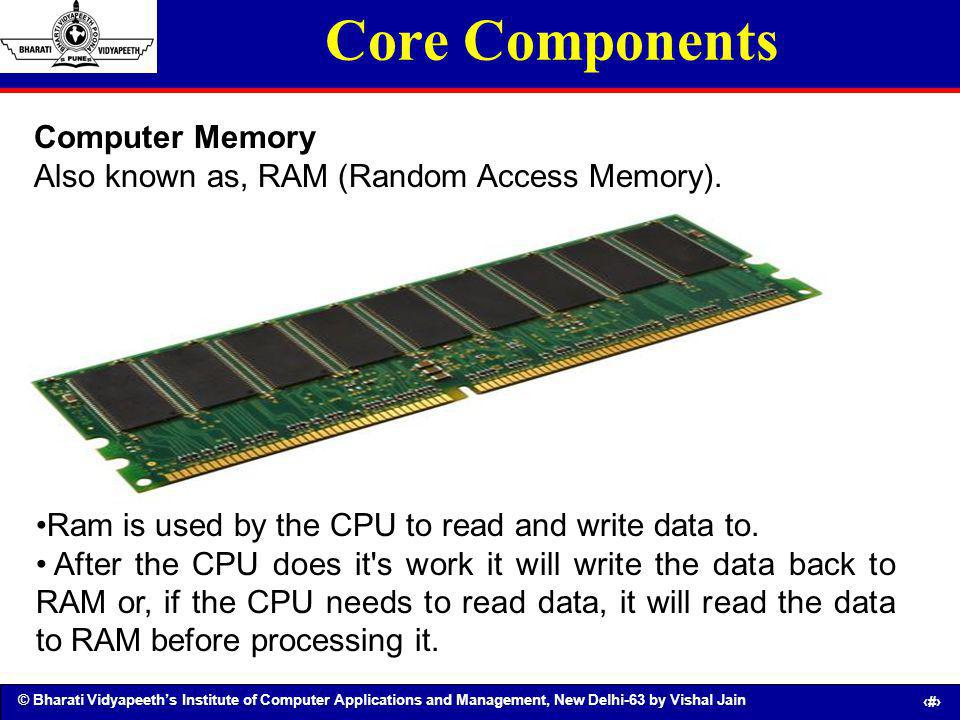 © Bharati Vidyapeeths Institute of Computer Applications and Management, New Delhi-63 by Vishal Jain 19 Core Components Computer Memory Also known as,