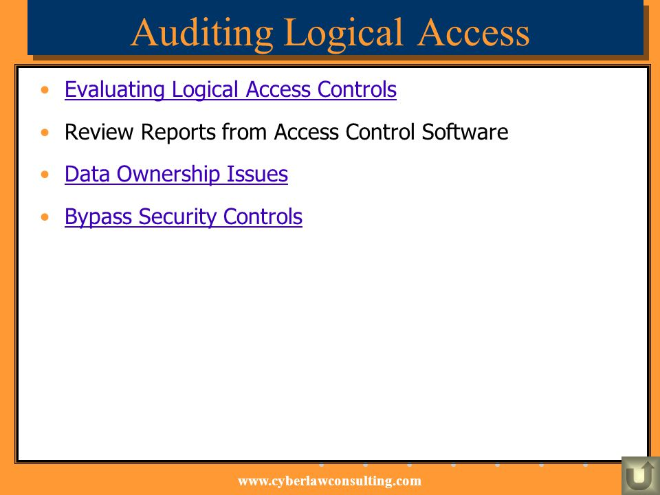 www.cyberlawconsulting.com Auditing Logical Access Evaluating Logical Access Controls Review Reports from Access Control Software Data Ownership Issue