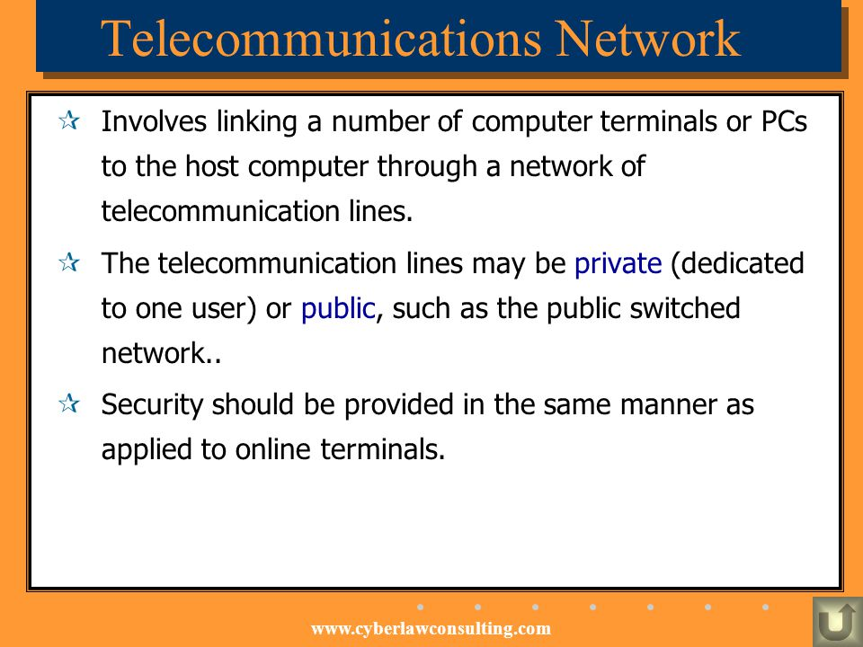 www.cyberlawconsulting.com Telecommunications Network Involves linking a number of computer terminals or PCs to the host computer through a network of
