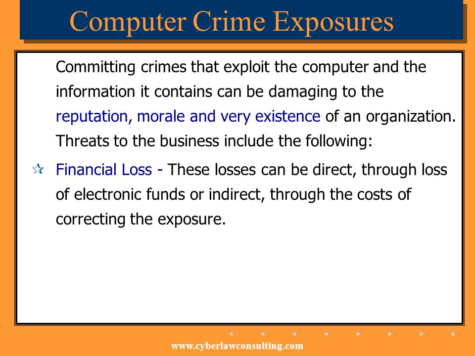 www.cyberlawconsulting.com Computer Crime Exposures Committing crimes that exploit the computer and the information it contains can be damaging to the