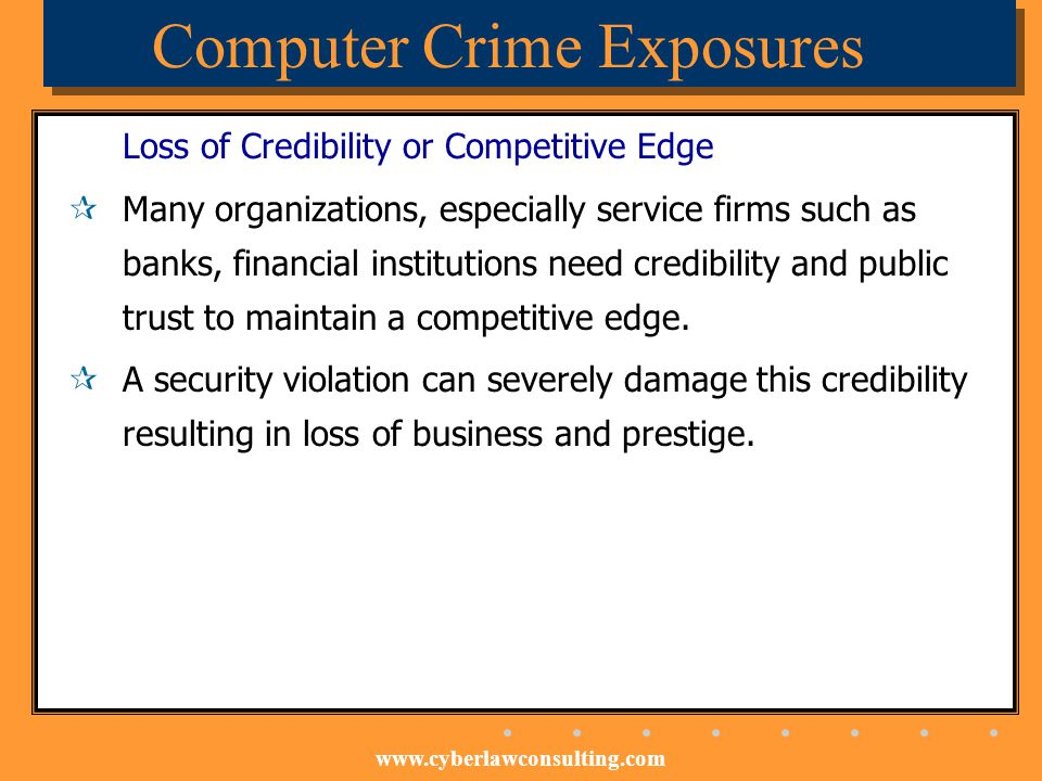 www.cyberlawconsulting.com Computer Crime Exposures Loss of Credibility or Competitive Edge Many organizations, especially service firms such as banks
