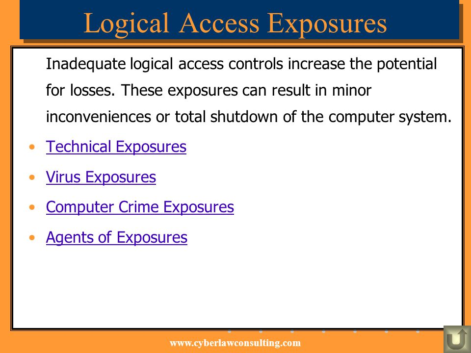 www.cyberlawconsulting.com Logical Access Exposures Inadequate logical access controls increase the potential for losses. These exposures can result i