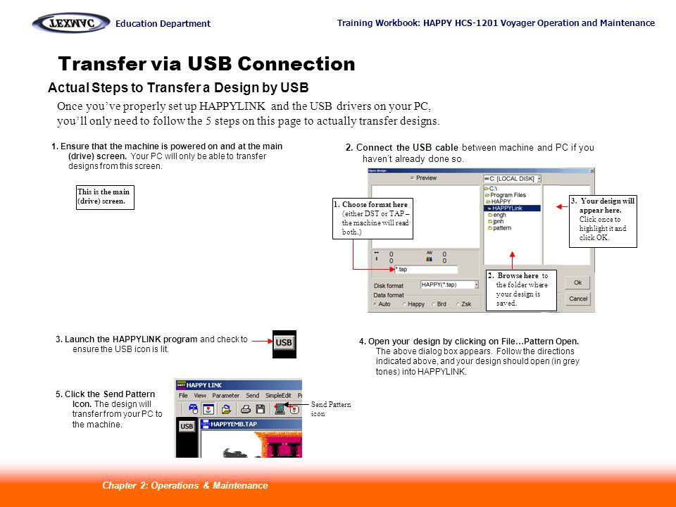 Training Workbook: HAPPY HCS-1201 Voyager Operation and Maintenance Education Department 22 Transfer via USB Connection Actual Steps to Transfer a Design by USB Once youve properly set up HAPPYLINK and the USB drivers on your PC, youll only need to follow the 5 steps on this page to actually transfer designs.
