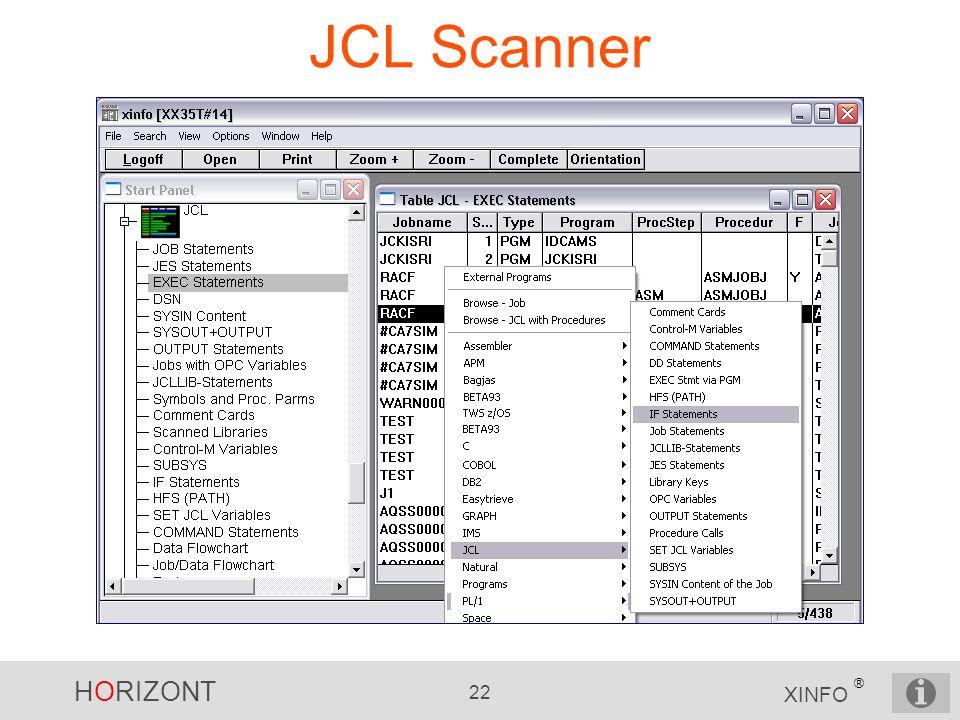 HORIZONT 22 XINFO ® JCL Scanner