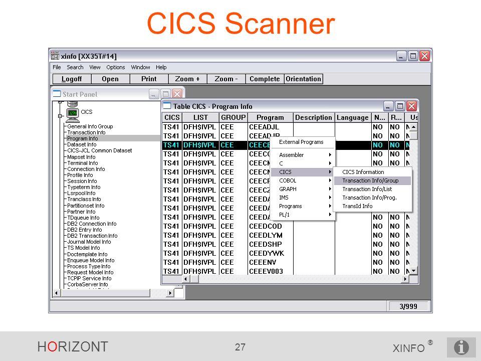 HORIZONT 27 XINFO ® CICS Scanner
