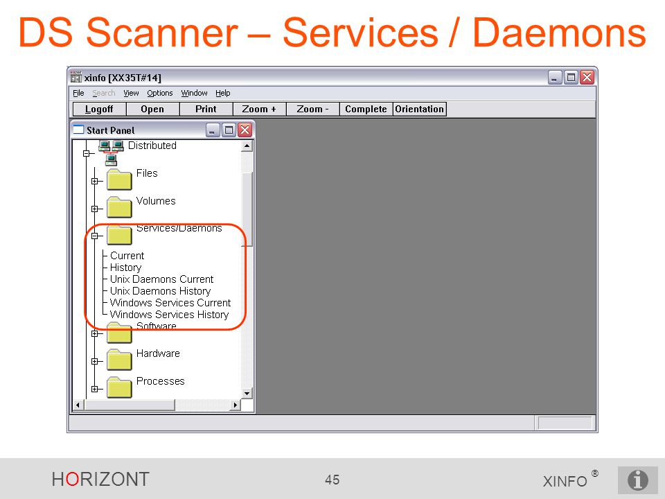 HORIZONT 45 XINFO ® DS Scanner – Services / Daemons