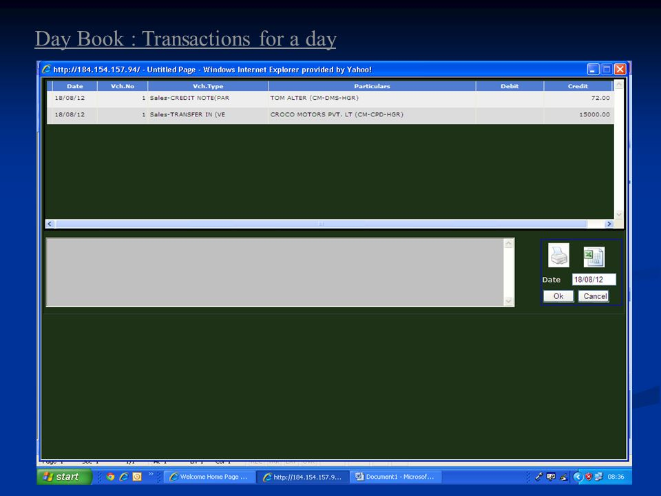 Day Book : Transactions for a day