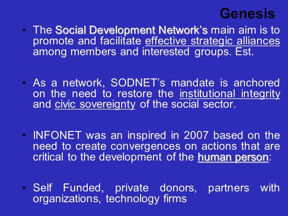 Genesis Social Development NetworksThe Social Development Networks main aim is to promote and facilitate effective strategic alliances among members a