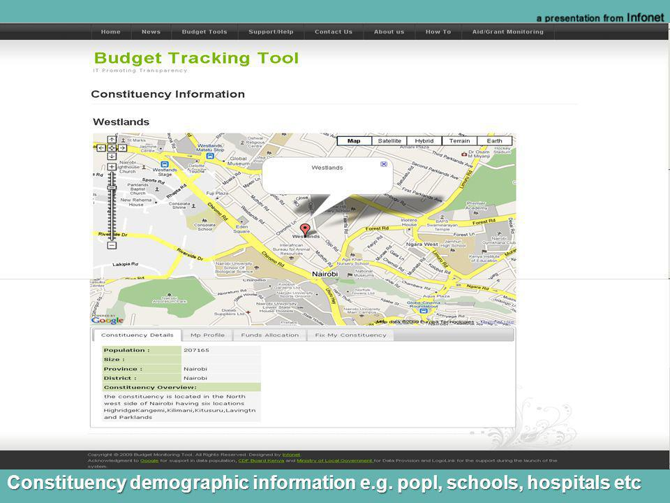 Constituency demographic information e.g. popl, schools, hospitals etc