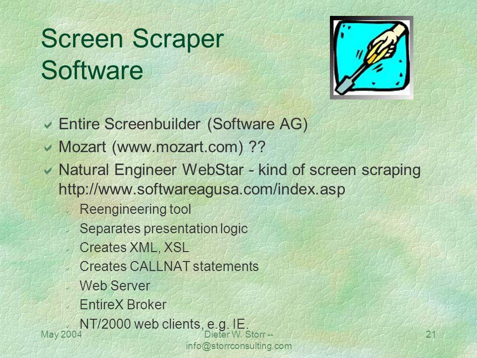 May 2004Dieter W. Storr -- info@storrconsulting.com 20 Screen Scraper Software Flashpoint, Inc. (www.flashpt.com) Intelligent Environments (www.screen