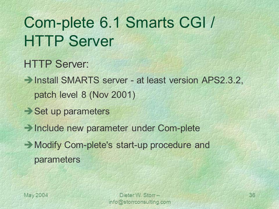May 2004Dieter W. Storr -- info@storrconsulting.com 35 Com-plete 6.1 Smarts CGI / HTTP Server Natural CGI: Install (INPL) Natural CGI if the CGI shoul
