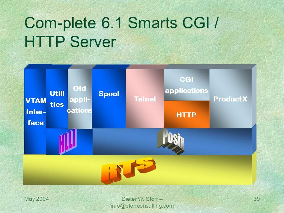 May 2004Dieter W. Storr -- info@storrconsulting.com 38 Com-plete 6.1 Smarts CGI / HTTP Server Com-plete Version 6.1 Includes: API layer POSIX SMARTS (
