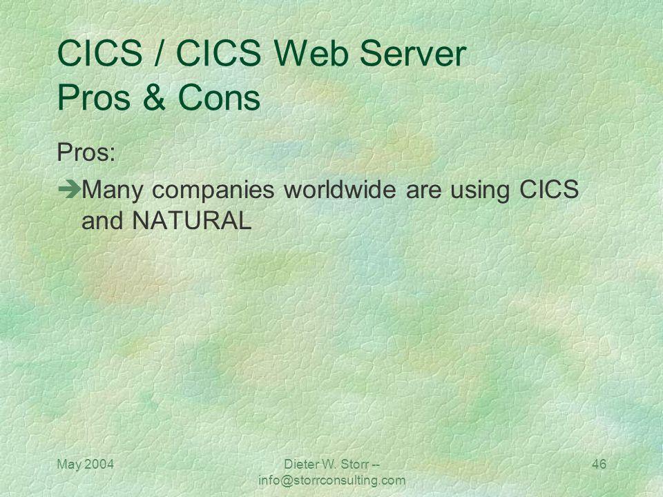 May 2004Dieter W. Storr -- info@storrconsulting.com 45 CICS / CICS Web Server / Natural CGI