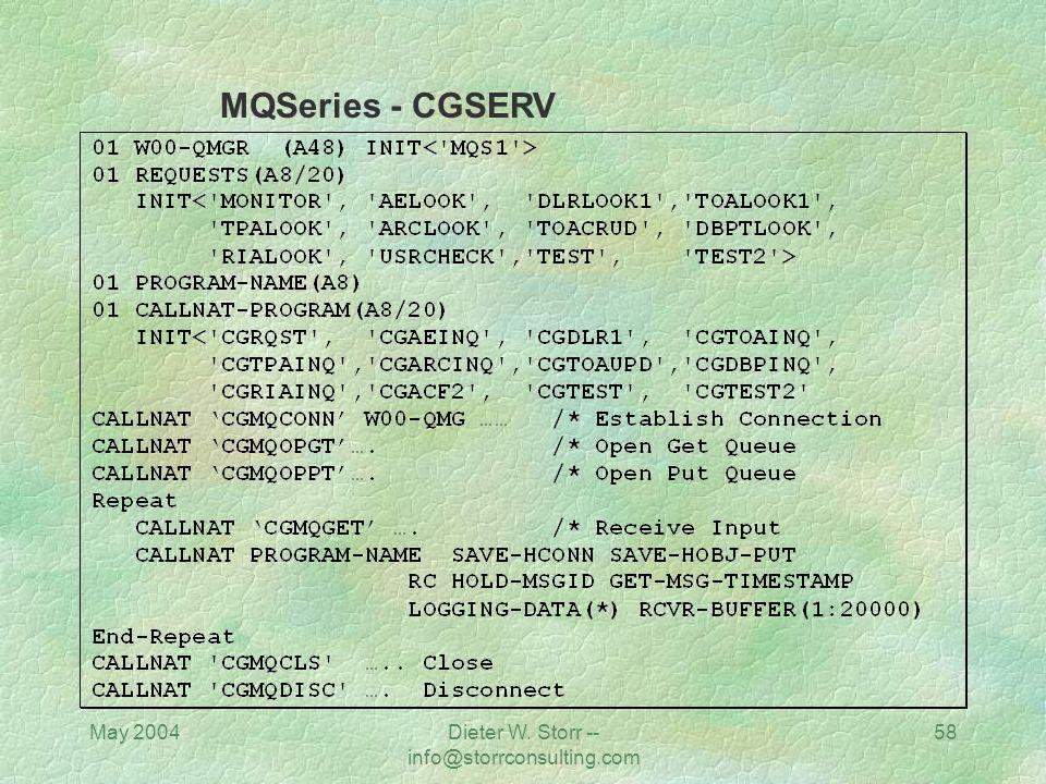 May 2004Dieter W. Storr -- info@storrconsulting.com 57 JAVA / Weblogic ORACLE MQSeries in Com-plete RESIDENTPAGE=CSQBSRV MQSeries in Com-plete RESIDEN
