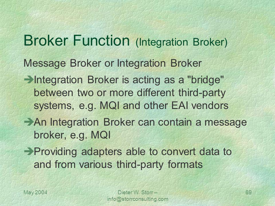 May 2004Dieter W. Storr -- info@storrconsulting.com 68 Broker Function (Message Broker) Message Broker includes Remote Procedure Calls (RPCs), Databas