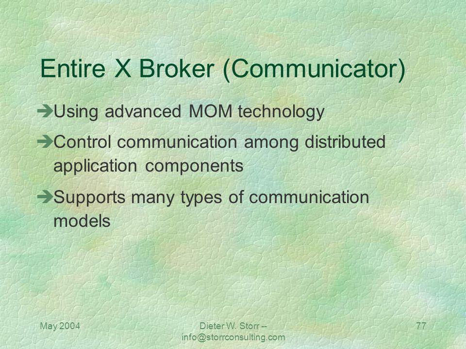 May 2004Dieter W. Storr -- info@storrconsulting.com 76 Message Broker 4 Tier SoftwareOpenMom, JMSone BEA Systems, Inc.M3 IBMMQ Series Integrator Micro