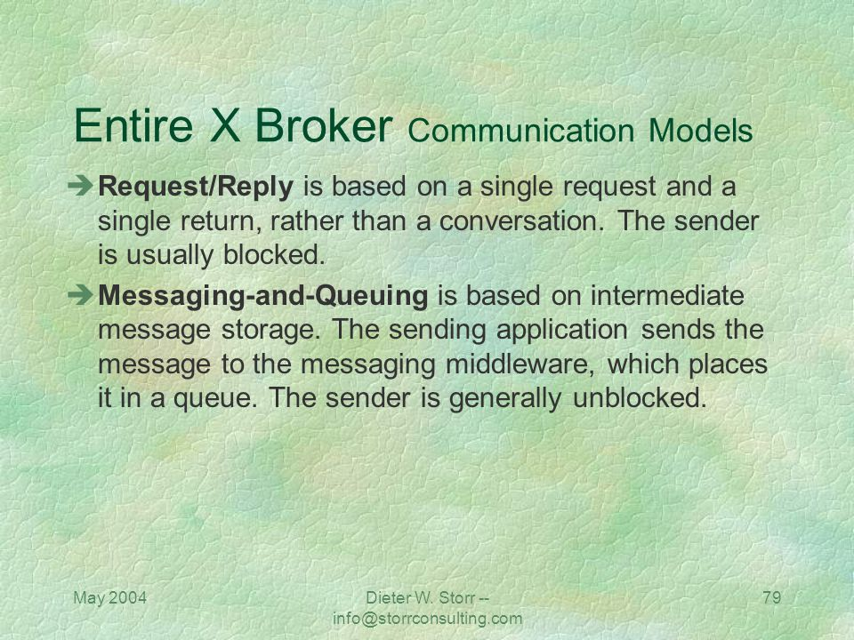May 2004Dieter W. Storr -- info@storrconsulting.com 78 Entire X Broker Communication Models Synchronous communication means the sender and receiver ar