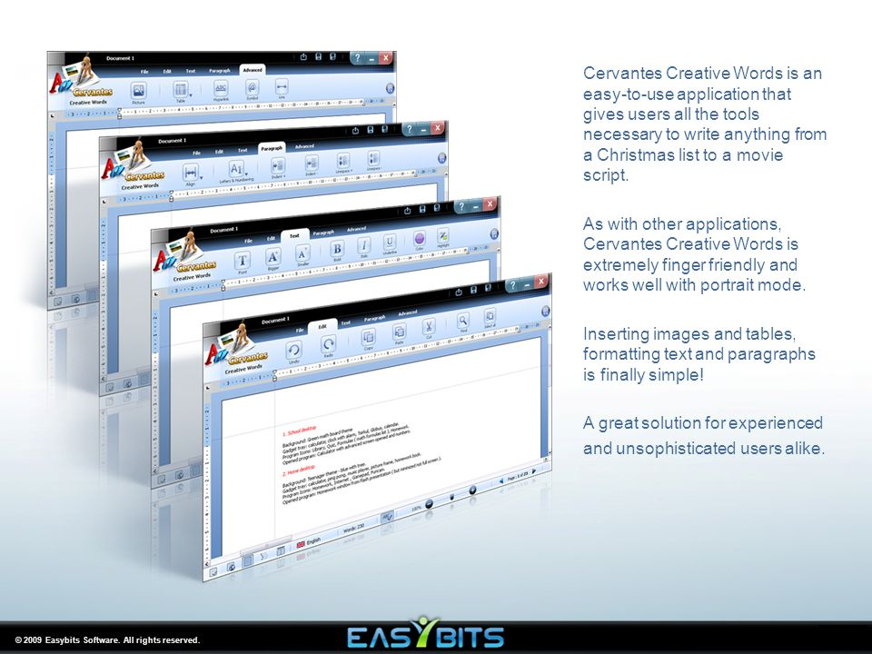 © 2009 Easybits Software. All rights reserved. Cervantes Creative Words is an easy-to-use application that gives users all the tools necessary to writ