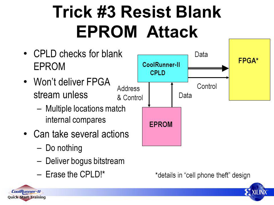 Quick Start Training Trick #3 Resist Blank EPROM Attack CPLD checks for blank EPROM Wont deliver FPGA stream unless – Multiple locations match interna