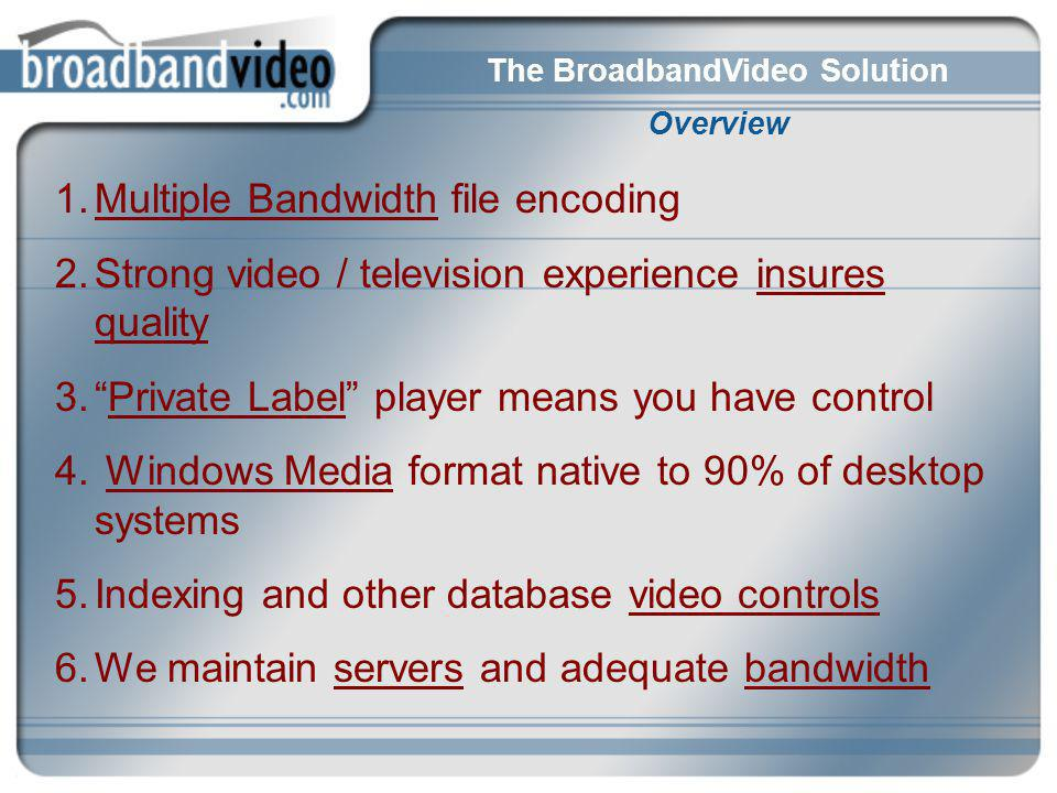 The BroadbandVideo Solution Overview 1.Multiple Bandwidth file encoding 2.Strong video / television experience insures quality 3.Private Label player means you have control 4.