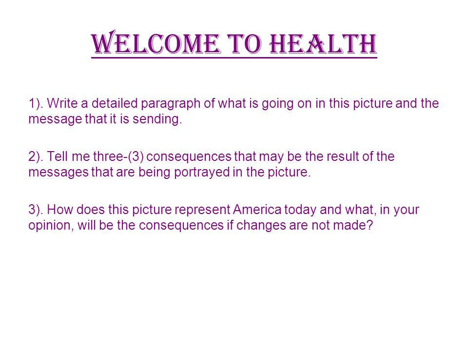 Welcome to health 1).