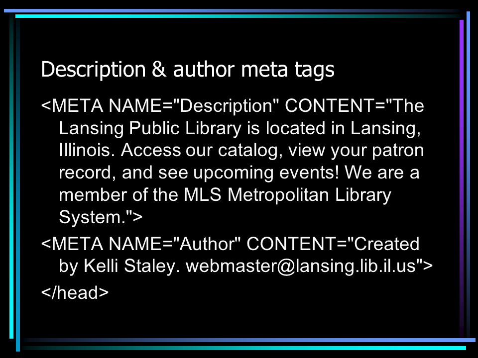 Description & author meta tags