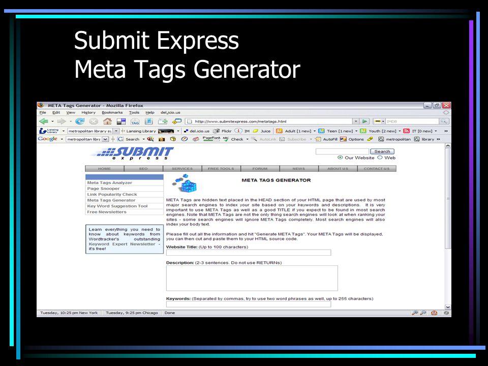 Submit Express Meta Tags Generator