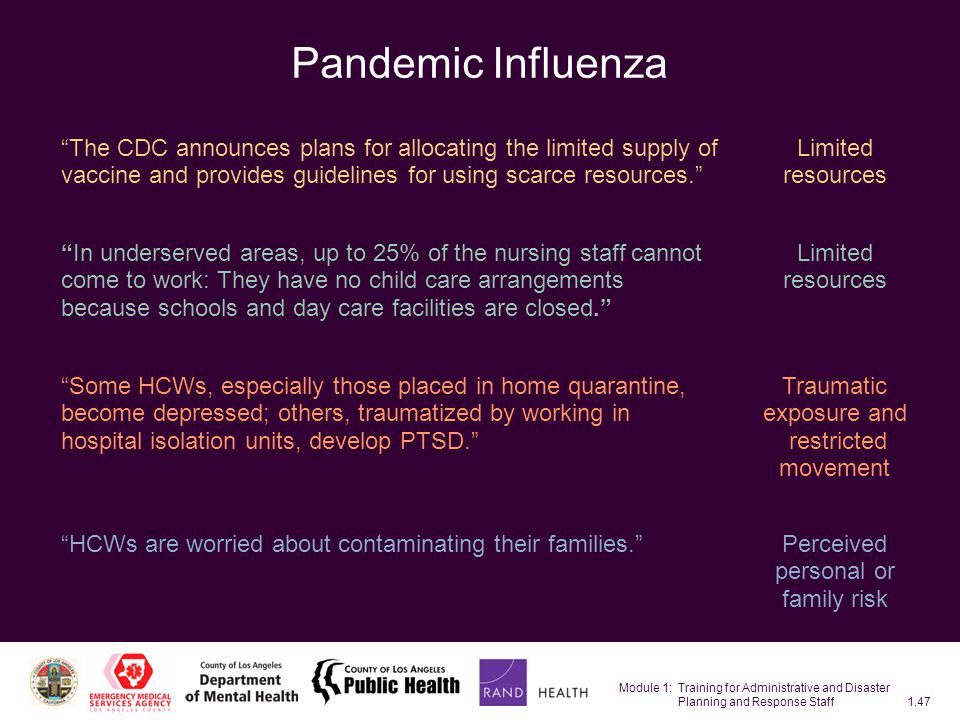 Module 1: Training for Administrative and Disaster Planning and Response Staff1.47 Pandemic Influenza Limited resources Perceived personal or family risk HCWs are worried about contaminating their families.