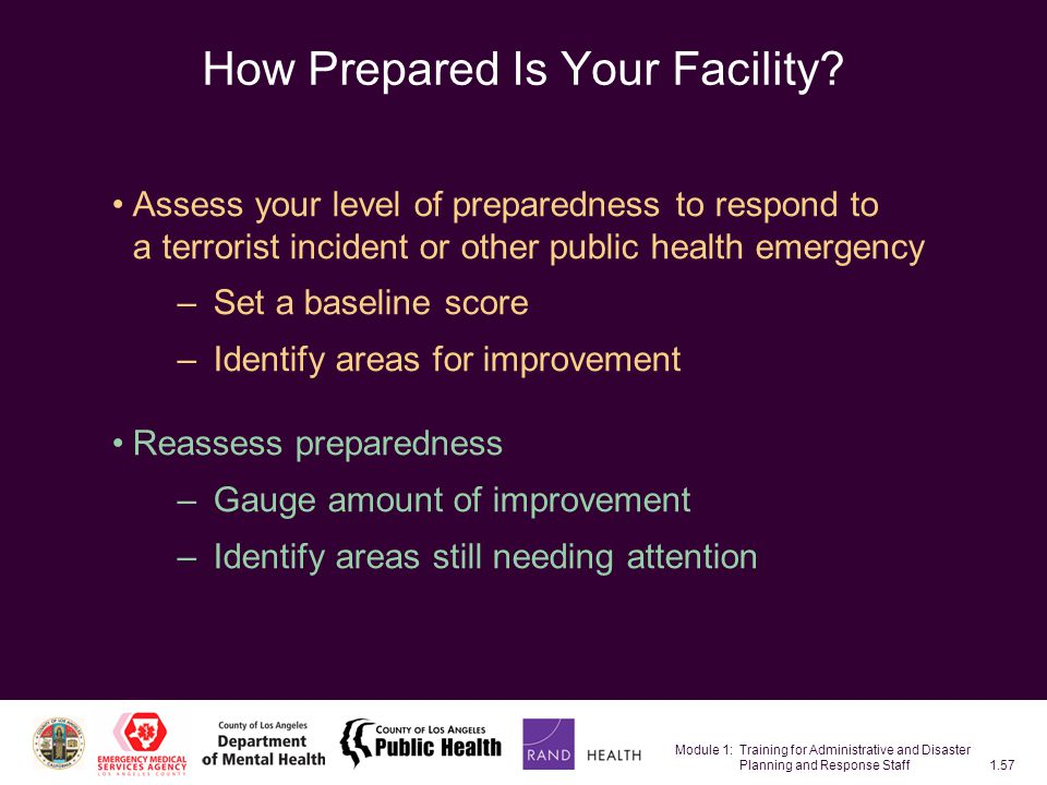 Module 1: Training for Administrative and Disaster Planning and Response Staff1.57 How Prepared Is Your Facility.