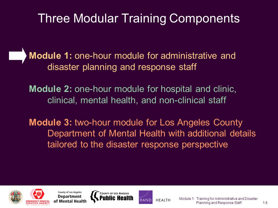 Module 1: Training for Administrative and Disaster Planning and Response Staff1.27 Restricted Movement Definition: Limitations on movement or interactions with others –Isolation –Shelter in place –Decontamination –Quarantine –Increased social distance –Evacuation Potential reactions –Loneliness –Anger and fear –Maladaptive behavior Example: A woman hospitalized with a severe respiratory problem is placed in isolation.