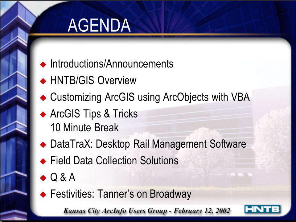 Software Overview DataTraX u ESRI MapObjects 2.0a u Legend Tools for MapObjects by MPN Components u C++ (Microsoft Visual C++ 6.0) u Oracle 8i (8.1.7) Additional Software Provided u ArcGIS 8.1