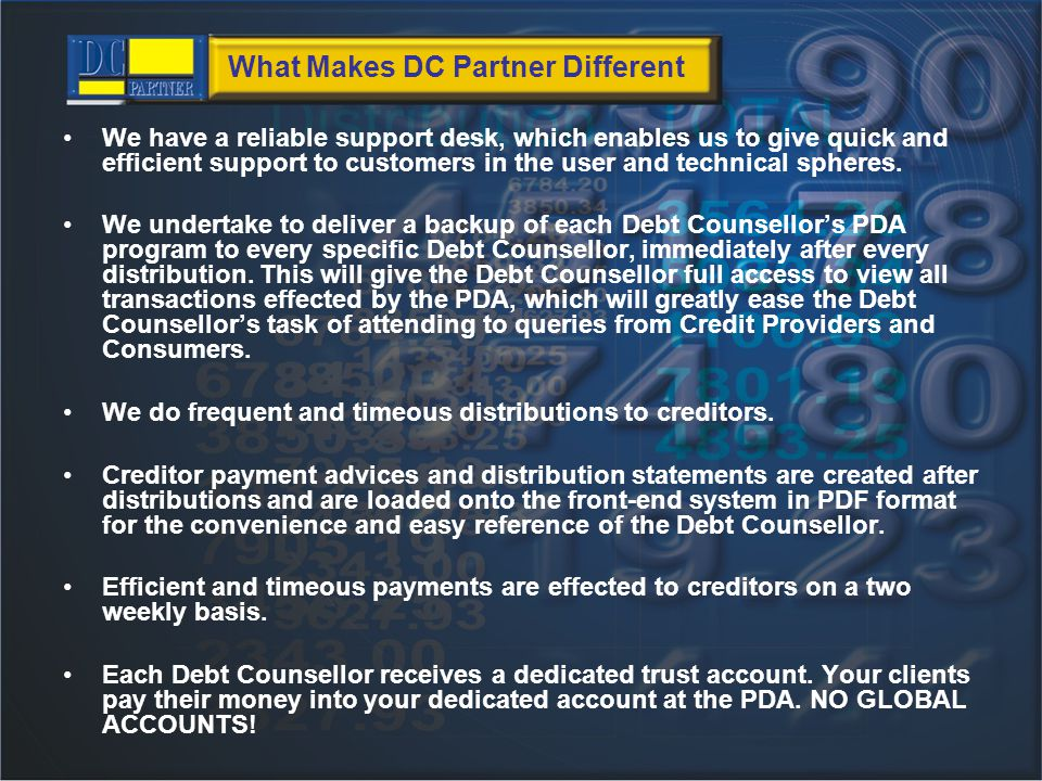 Contact Details DC Partner: Telephone: (044) 873 4440 Herman Joubert: 084 262 1034 59 Victoria street George 6530 Email: hr@dcpartner.co.zaDebt-Wise: Telephone: (044) 884 1822 Email: support@debt-wise.co.za