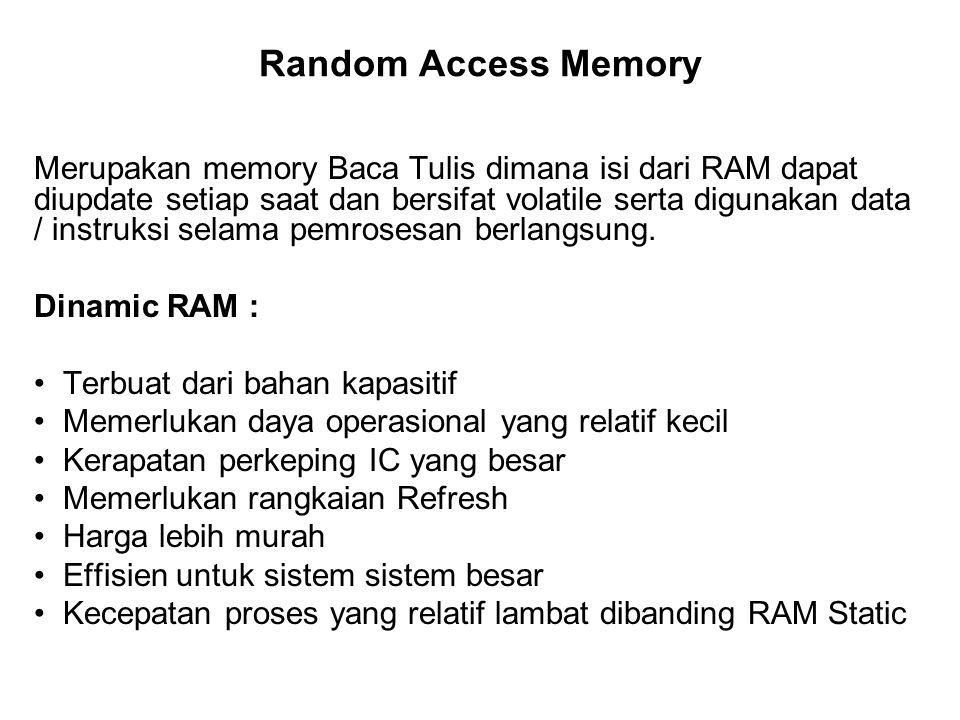 Random Access Memory Merupakan memory Baca Tulis dimana isi dari RAM dapat diupdate setiap saat dan bersifat volatile serta digunakan data / instruksi