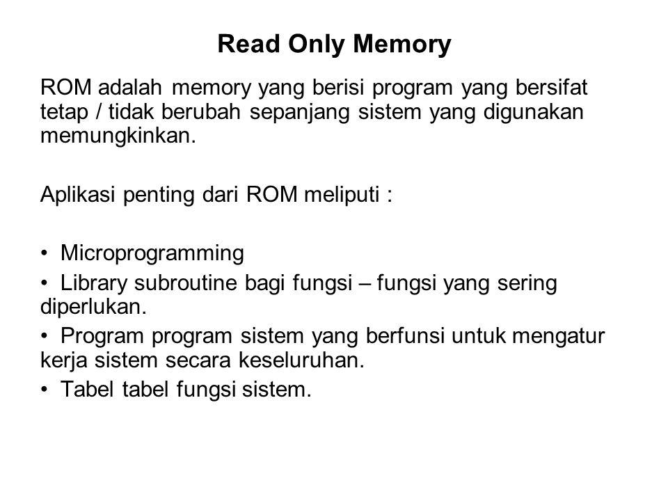 Read Only Memory ROM adalah memory yang berisi program yang bersifat tetap / tidak berubah sepanjang sistem yang digunakan memungkinkan. Aplikasi pent