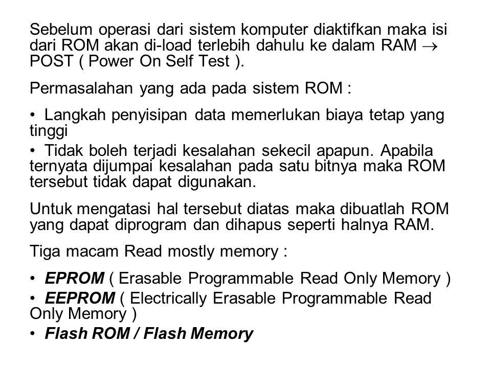 Sebelum operasi dari sistem komputer diaktifkan maka isi dari ROM akan di-load terlebih dahulu ke dalam RAM POST ( Power On Self Test ). Permasalahan