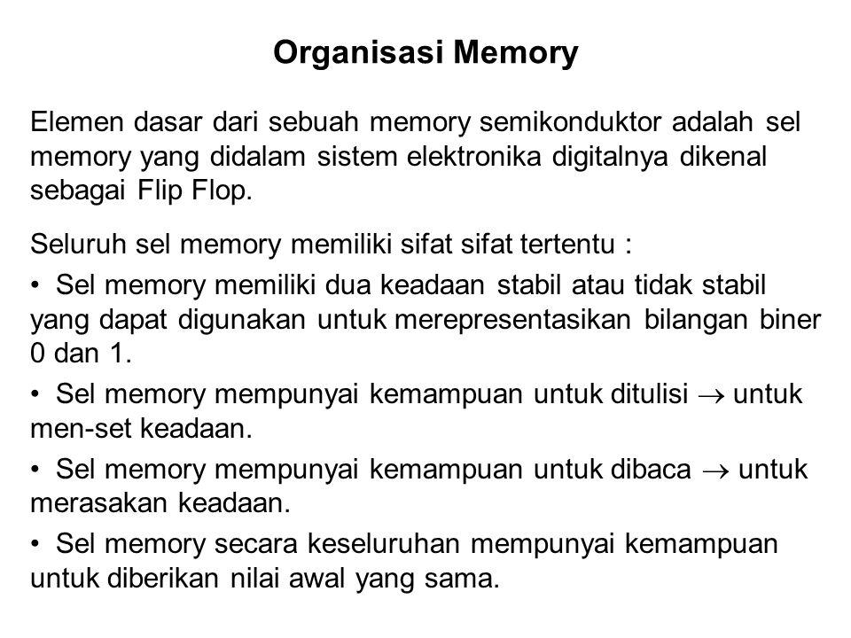Organisasi Memory Elemen dasar dari sebuah memory semikonduktor adalah sel memory yang didalam sistem elektronika digitalnya dikenal sebagai Flip Flop