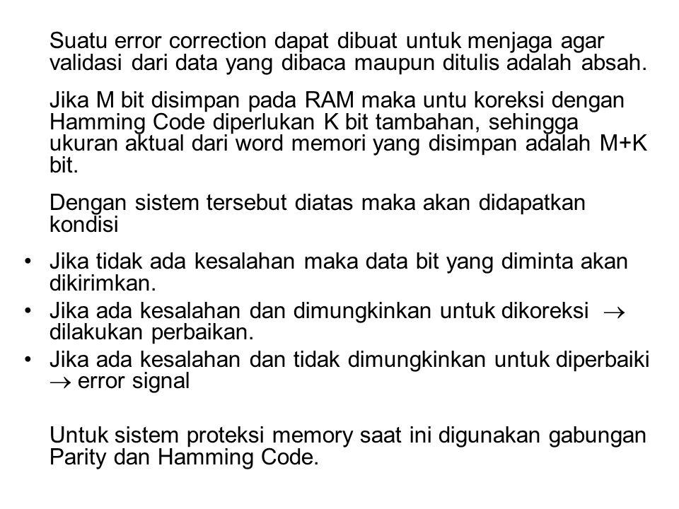 Suatu error correction dapat dibuat untuk menjaga agar validasi dari data yang dibaca maupun ditulis adalah absah. Jika M bit disimpan pada RAM maka u