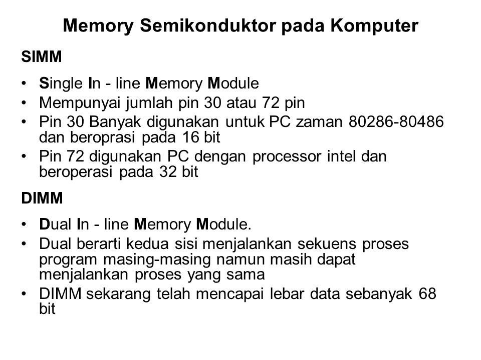 Memory Semikonduktor pada Komputer SIMM Single In - line Memory Module Mempunyai jumlah pin 30 atau 72 pin Pin 30 Banyak digunakan untuk PC zaman 8028