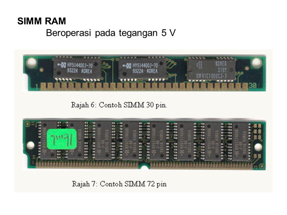 SIMM RAM Beroperasi pada tegangan 5 V
