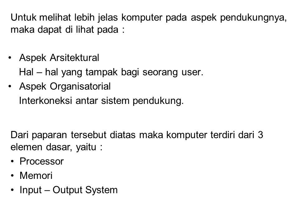 Untuk melihat lebih jelas komputer pada aspek pendukungnya, maka dapat di lihat pada : Aspek Arsitektural Hal – hal yang tampak bagi seorang user. Asp