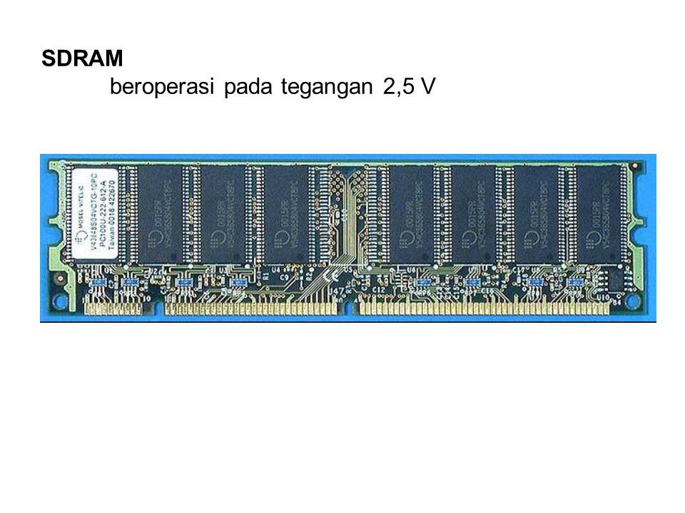 SDRAM beroperasi pada tegangan 2,5 V