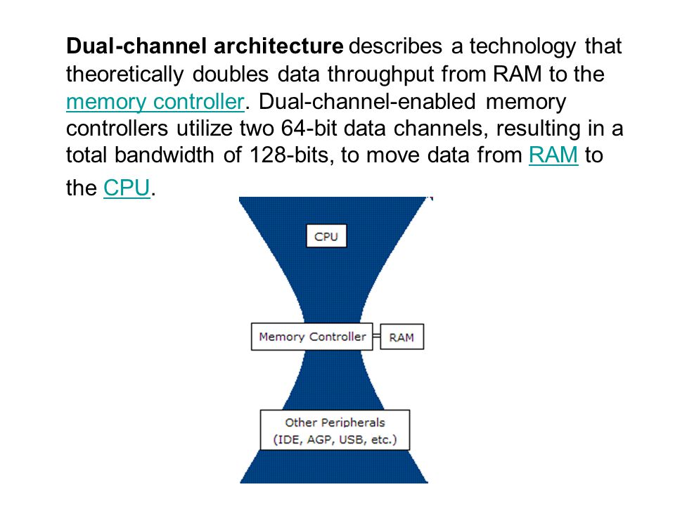 Dual-channel architecture describes a technology that theoretically doubles data throughput from RAM to the memory controller. Dual-channel-enabled me