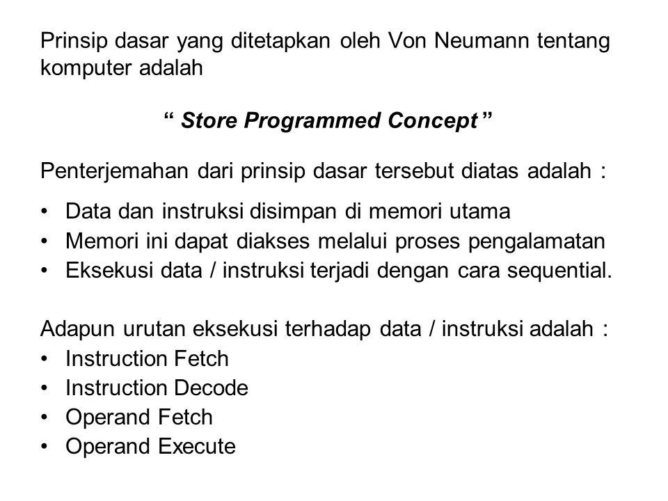 Prinsip dasar yang ditetapkan oleh Von Neumann tentang komputer adalah Store Programmed Concept Penterjemahan dari prinsip dasar tersebut diatas adala