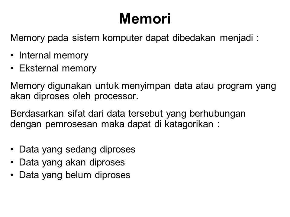 Memori Memory pada sistem komputer dapat dibedakan menjadi : Internal memory Eksternal memory Memory digunakan untuk menyimpan data atau program yang