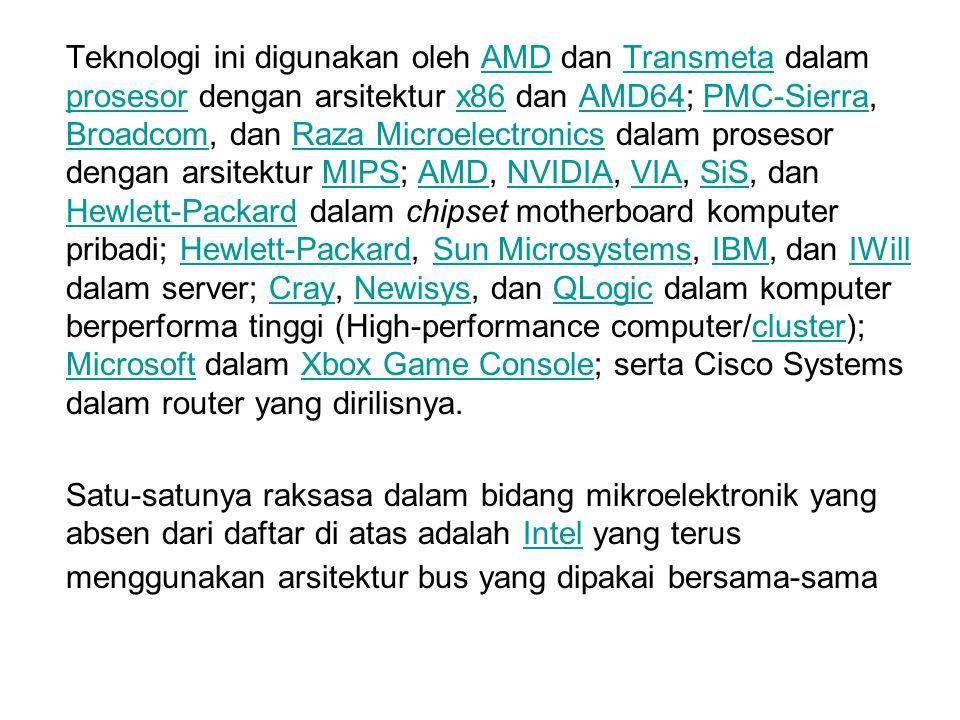 Teknologi ini digunakan oleh AMD dan Transmeta dalam prosesor dengan arsitektur x86 dan AMD64; PMC-Sierra, Broadcom, dan Raza Microelectronics dalam p