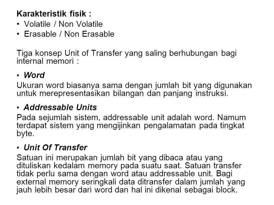 Karakteristik fisik : Volatile / Non Volatile Erasable / Non Erasable Tiga konsep Unit of Transfer yang saling berhubungan bagi internal memori : Word