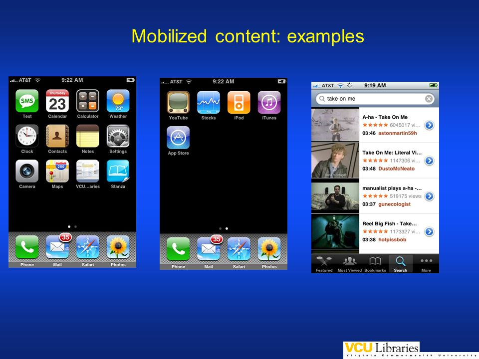 Mobilized content: examples