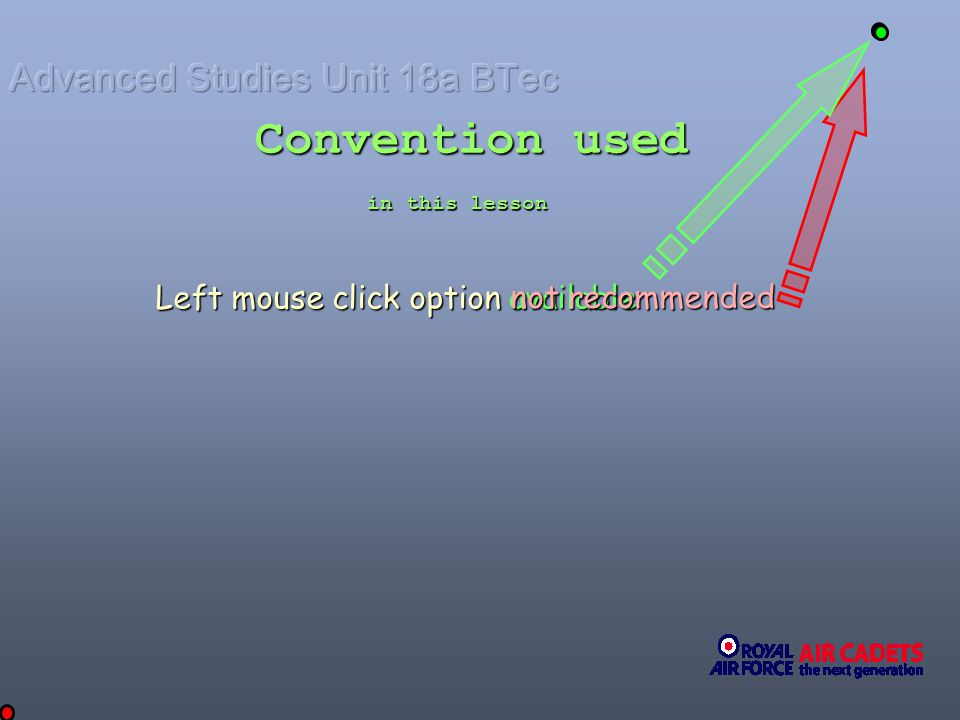 Convention used Left mouse click option available not recommended in this lesson