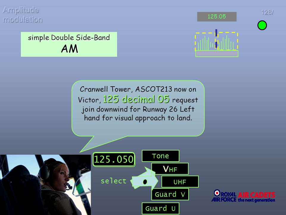 125 decimal 05 Cranwell Tower, ASCOT213 now on Victor, 125 decimal 05 request join downwind for Runway 26 Left hand for visual approach to land. V HF